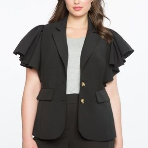ELOQUII NWT Studio Ruffle Sleeve Blazer Sz20 Black